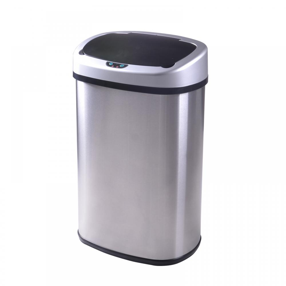 new 13-gallon touch-free sensor automatic stainless-steel trash