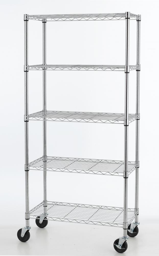 5 shelf wire shelving 30 by 14 by 60 inch storage rack w. Black Bedroom Furniture Sets. Home Design Ideas
