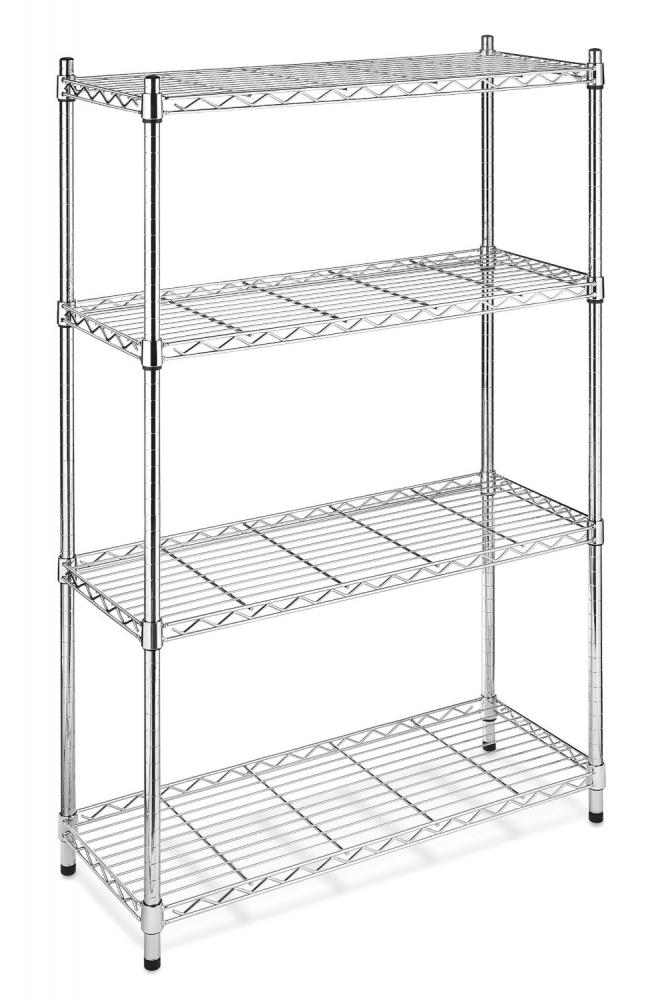 Black/Chrome Commercial 4 Tier Shelf AdjustableSteel Wire Metal ...