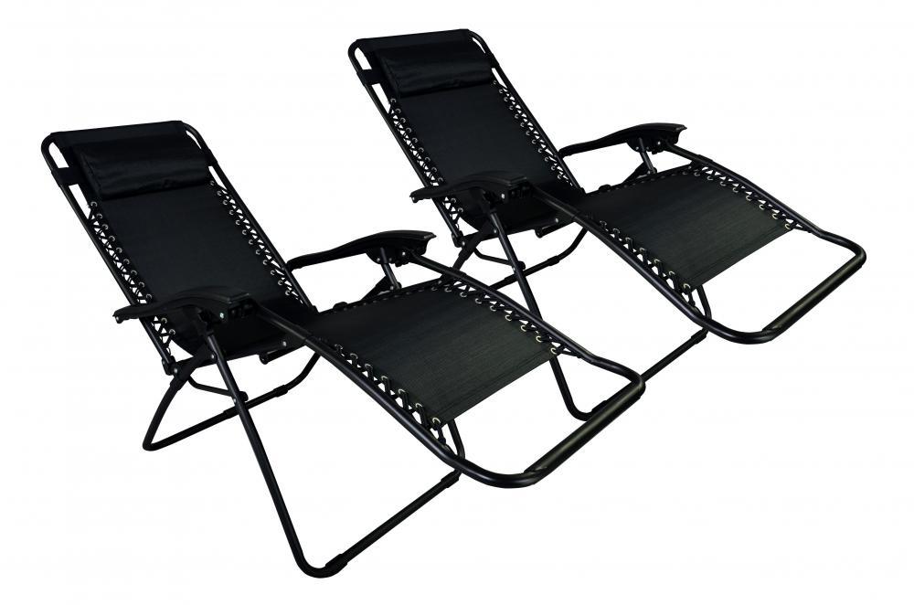 zero gravity chairs case of 2 black lounge patio chairs outdoor yard beach o85 - Zero Gravity Chair