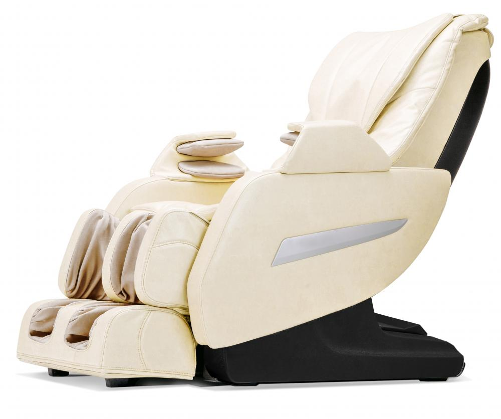 Shiatsu Full Body Zero Gravity Massage Chair with Recliner Heat Long Rail (Cream)