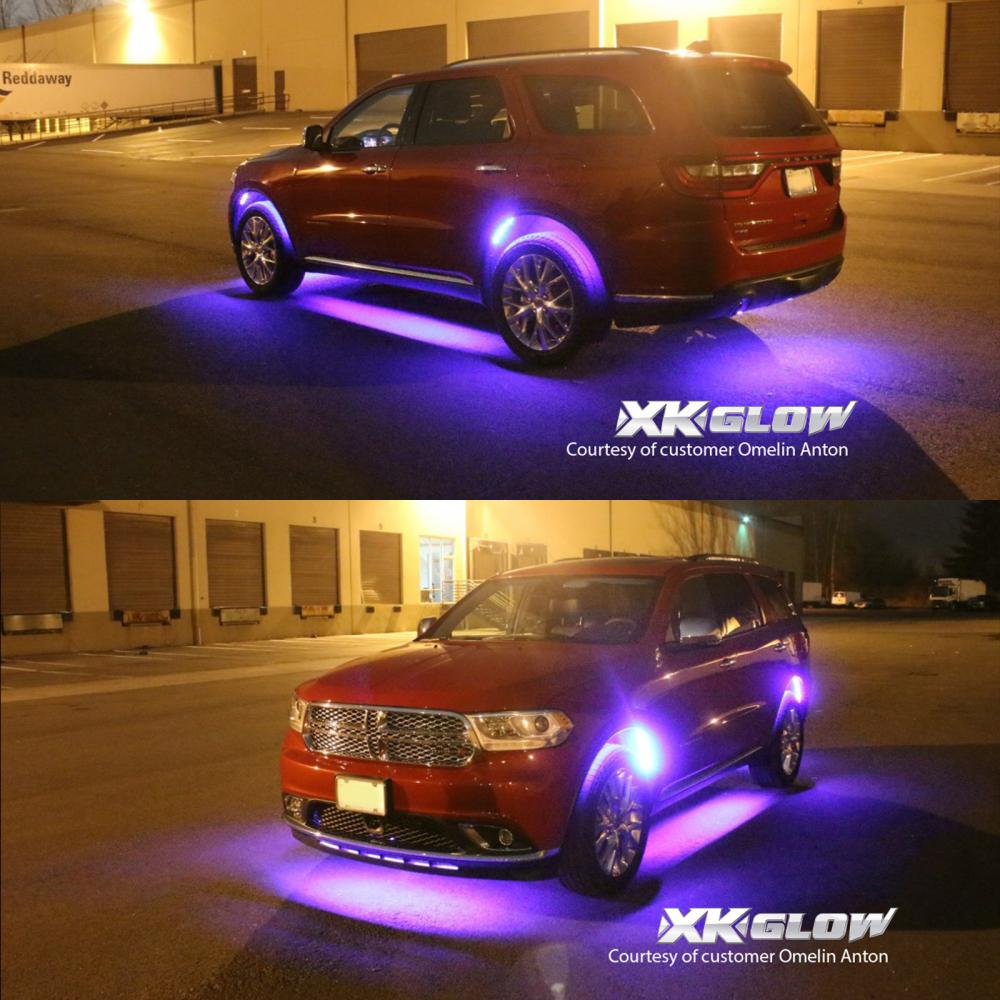 6pc Car Interior Neon Underglow Accent Light Kit: 3 Million Color 8pc LED Under Car Glow Underbody Neon