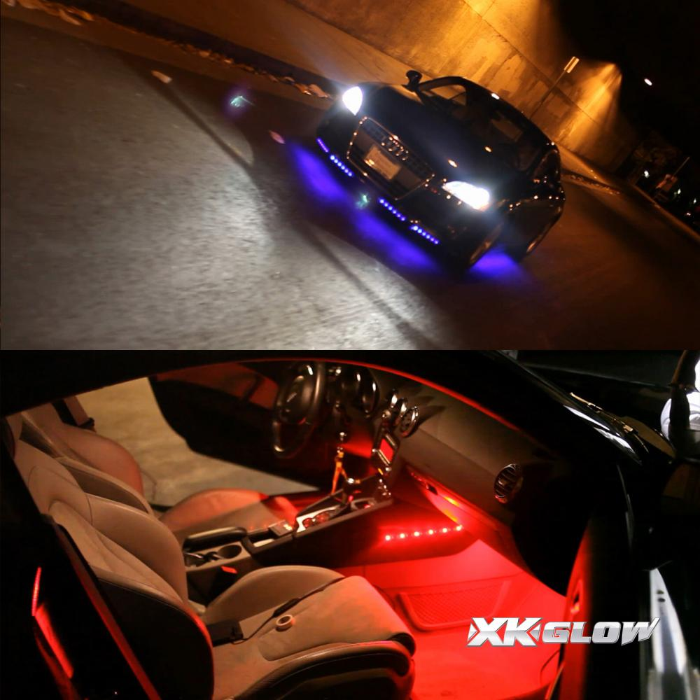 Car color kit - Color Changing Under Car Truck Boat Underglow 8 24in Tubes Lights Wide Angle