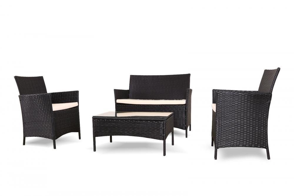 rattan garden furniture set conservatory patio 4 pieces in black or