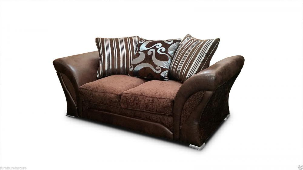 brand new shannon brown leather fabric sofa suite 3 2