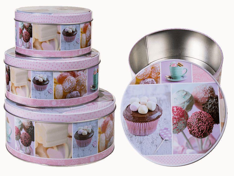 Set Of 3 Cupcake Design Kitchen Cake Cookie Biscuit