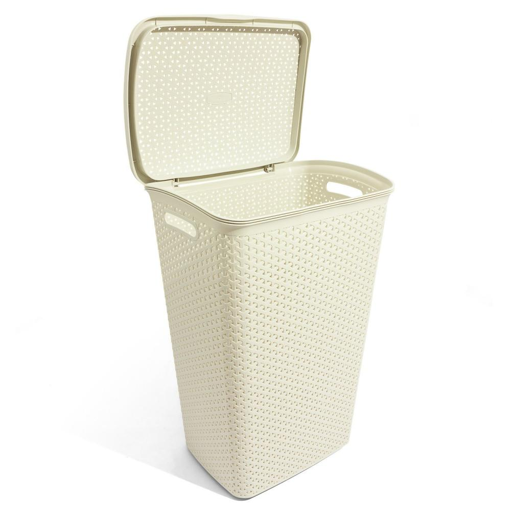 Curver 55l rattan style plastic laundry linen basket bin hamper choice of colour ebay - Rattan laundry hamper ...