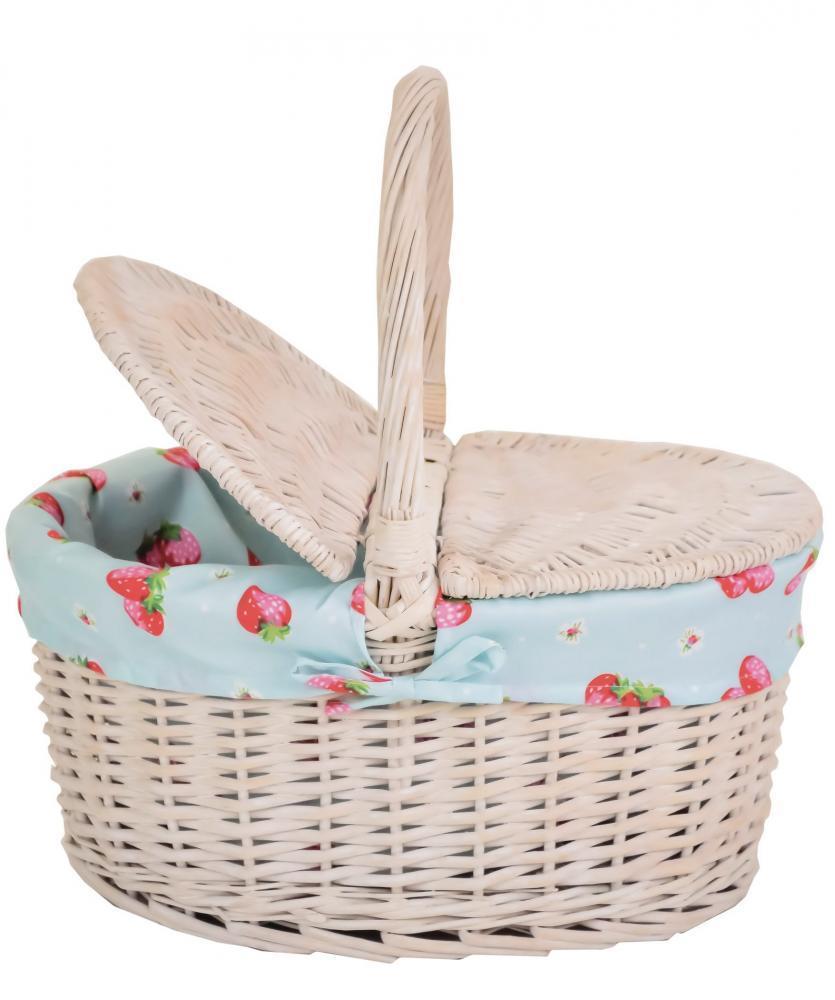 E2e small wicker shopping picnic storage basket style hamper with cotton liner ebay - Wicker hamper with liner ...