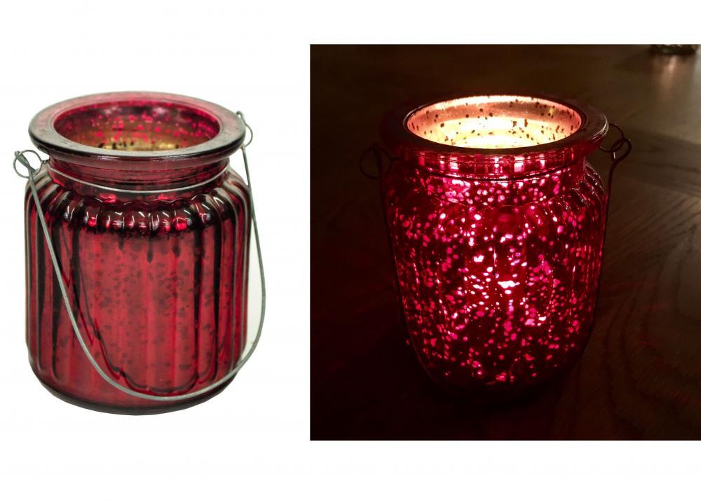 E2e ribbed mercury glass candle tea light holder lantern for 7 candle christmas decoration