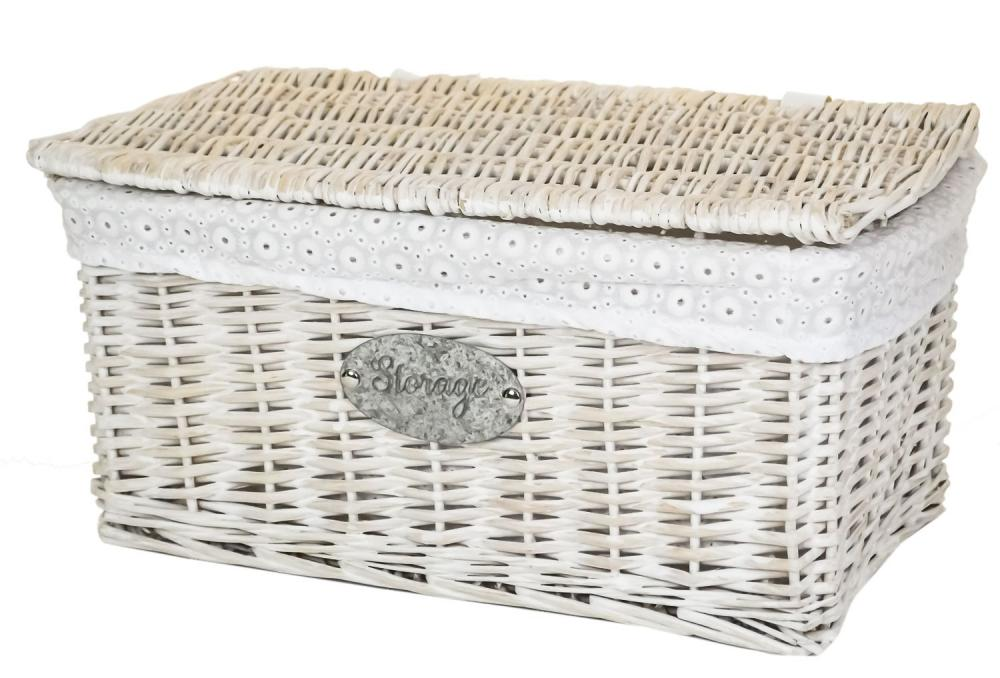 e2e-White-Wash-Wicker-Chest-Trunk-Hamper-Storage-