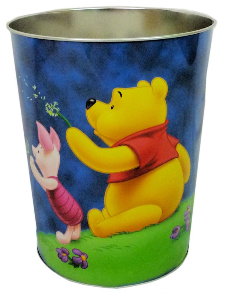 Disney winnie the pooh kids metal waste paper rubbish dust for Bedroom garbage can