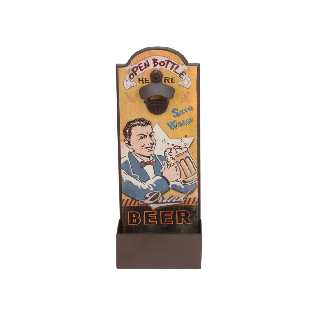 Retro Vintage Wooden Wall Mounted Beer Bottle Opener With