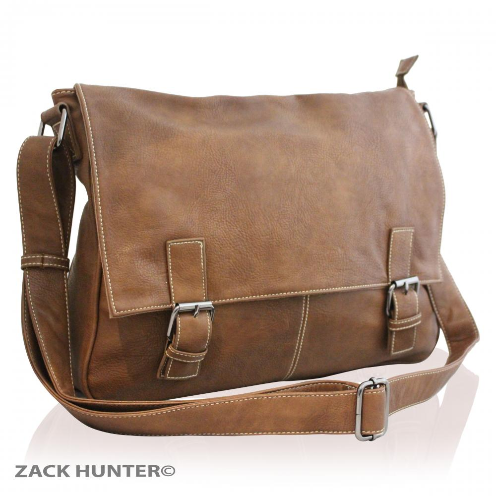 mens womens real leather satchel messenger bag shoulder