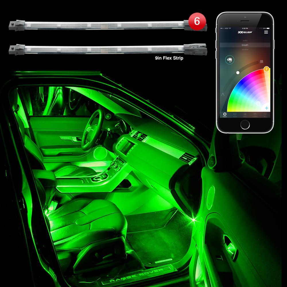 Xkchrome Bluetooth App Controlled 6pc Interior Car Truck Led Accent Light Kit Ebay