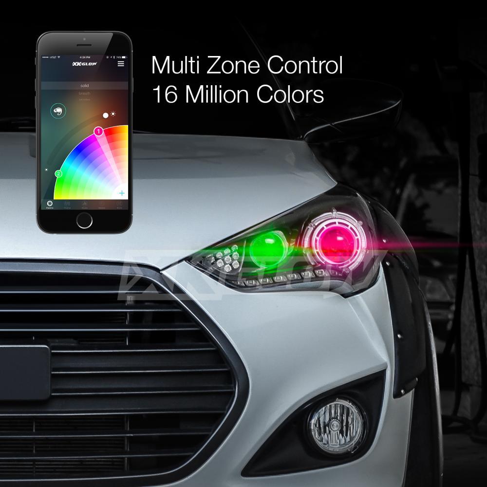 H8 2in1 LED Headlight Bulbs + RGB Demon Eye Bluetooth ...