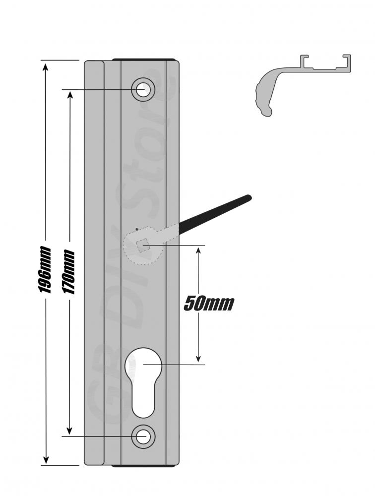 Fullex upvc sliding patio door handle set 50mm pz white ebay for Upvc patio door parts