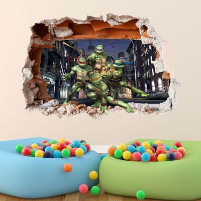 TEENAGE MUTANT NINJA TURTLES WALL STICKER 3D BOYS BEDROOM VINYL WALL ART DECA