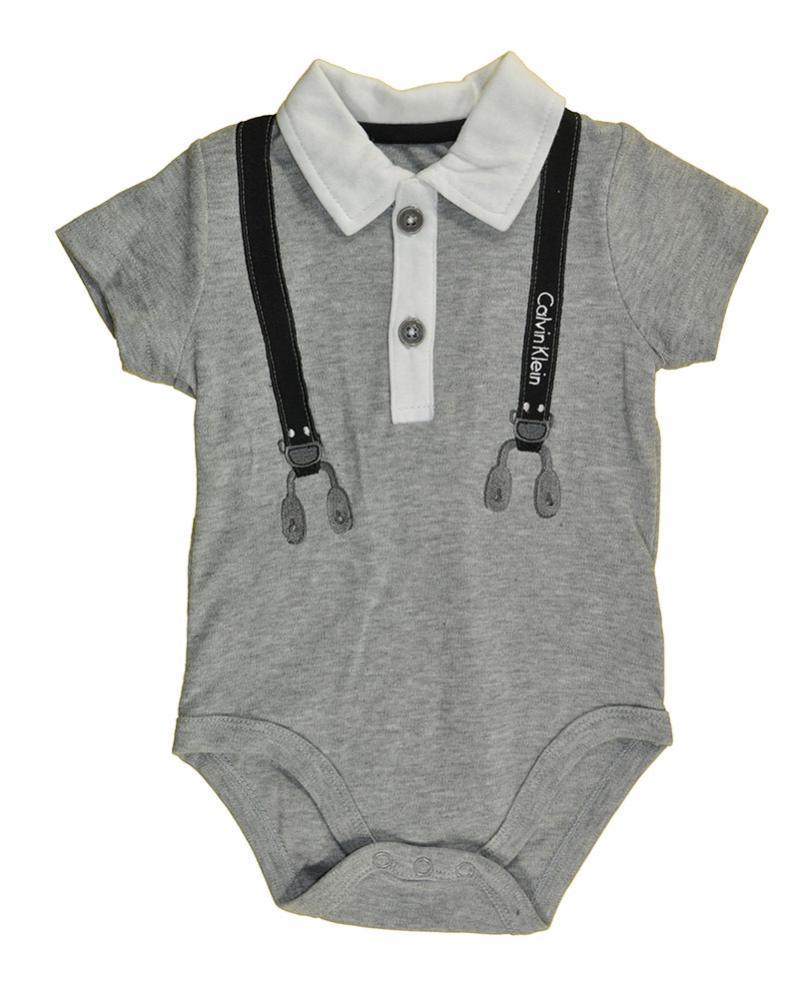Calvin Klein Infant Boys S/S Bodysuit 2pc Short Set Size 0/3M 3/6M 6/9M $49.50