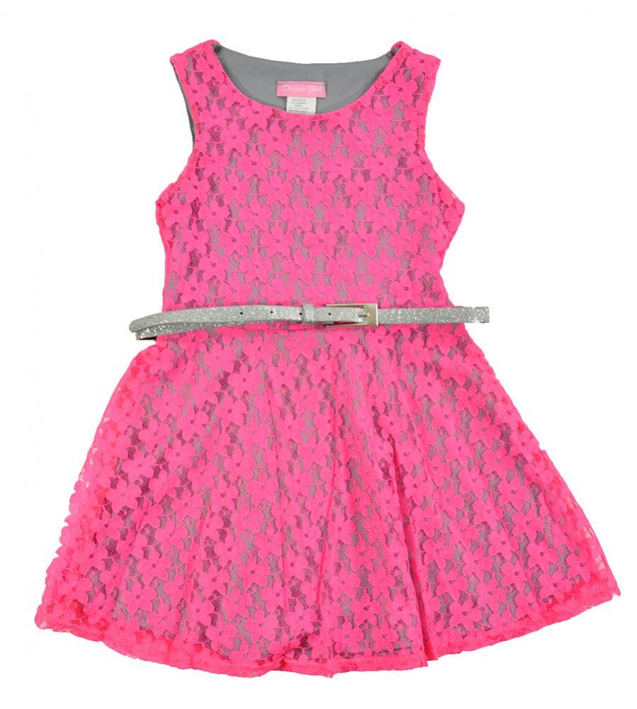 sleeveless pink gray lace dress w