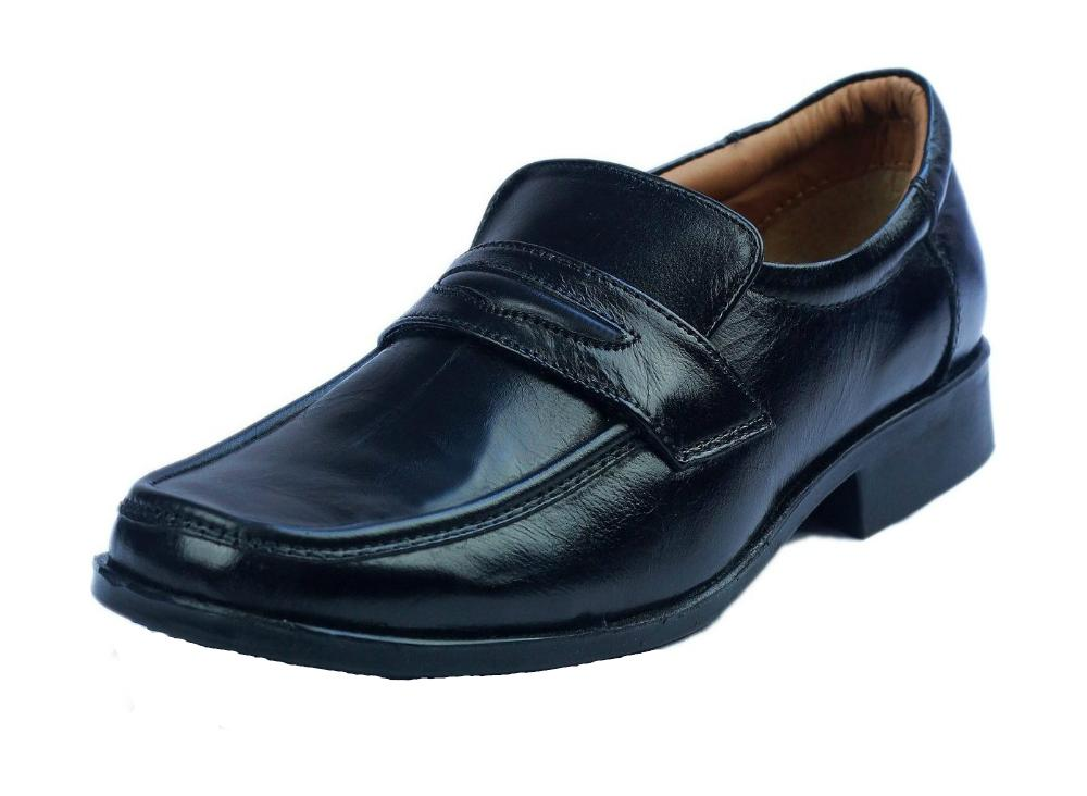 mens boys leather shoes office school cadets smart