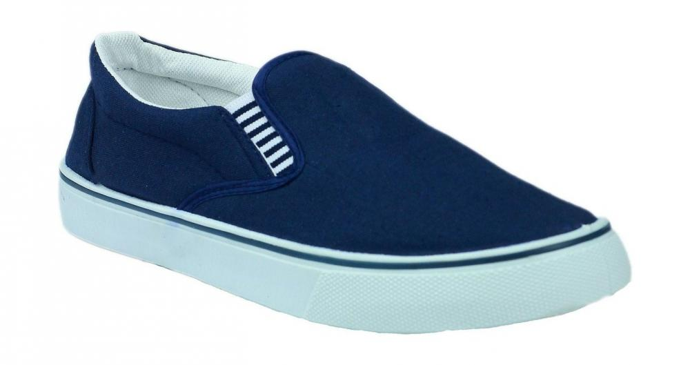 mens boys canvas deck shoes yacht pumps navy blue slip on