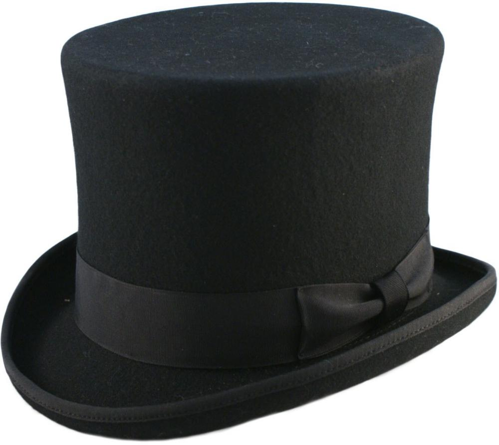 "Details about   Quality Hand Made Black 6"" High Top Hat Topper Hat Wedding Hat 6 Sizes"