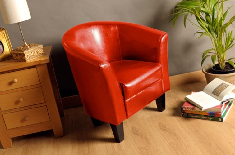 CLEARANCE SALE - Faux leather Tub Chair Armchair With a ...