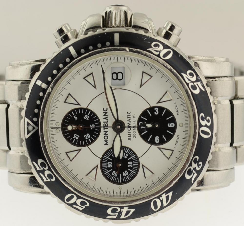 montblanc meisterstuck sport 7034 automatic chronograph steel bracelet 41 5 mm ebay. Black Bedroom Furniture Sets. Home Design Ideas
