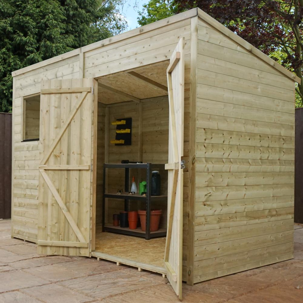 10x6 pressure treated wooden garden storage shed pent roof for Double door shed plans