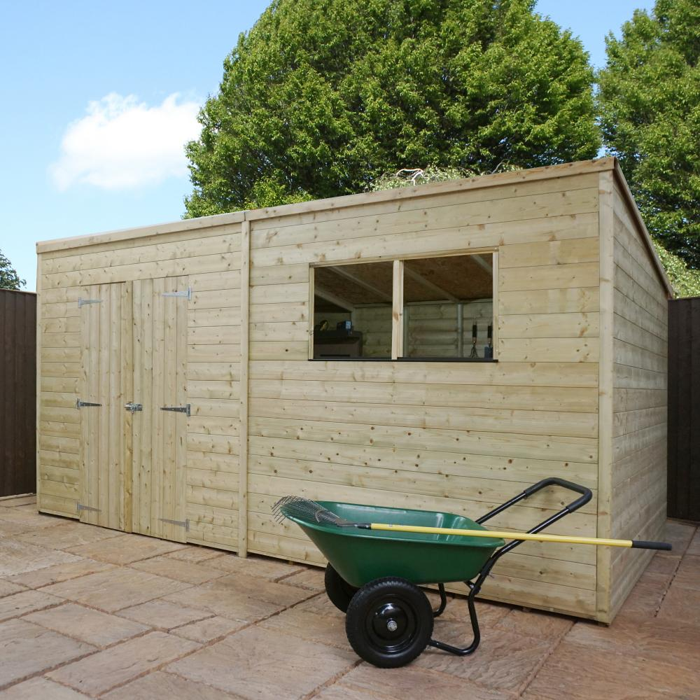 Wooden garden shed pressure treated 10x8 12x8 14x8 pent for Garden shed tab