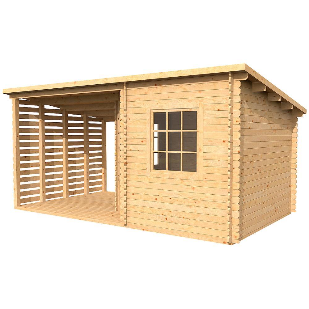 5m x 3m midgard corner log cabin with veranda garden building summer house