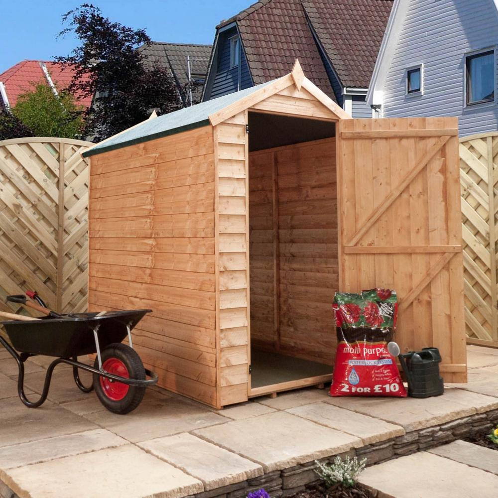 6ft x 4ft waltons windowless overlap apex wooden garden shed
