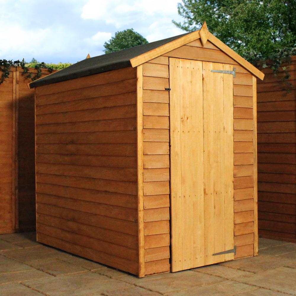 6x4 overlap wooden garden shed single door apex roof for Garden shed 6x4 sale