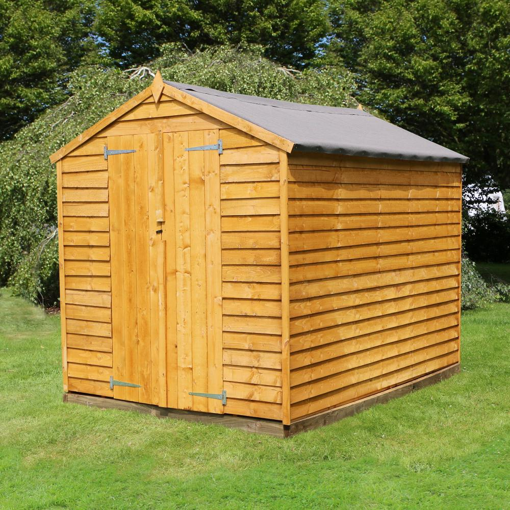 8x6 overlap wooden garden shed double door apex roof for Garden shed january sale