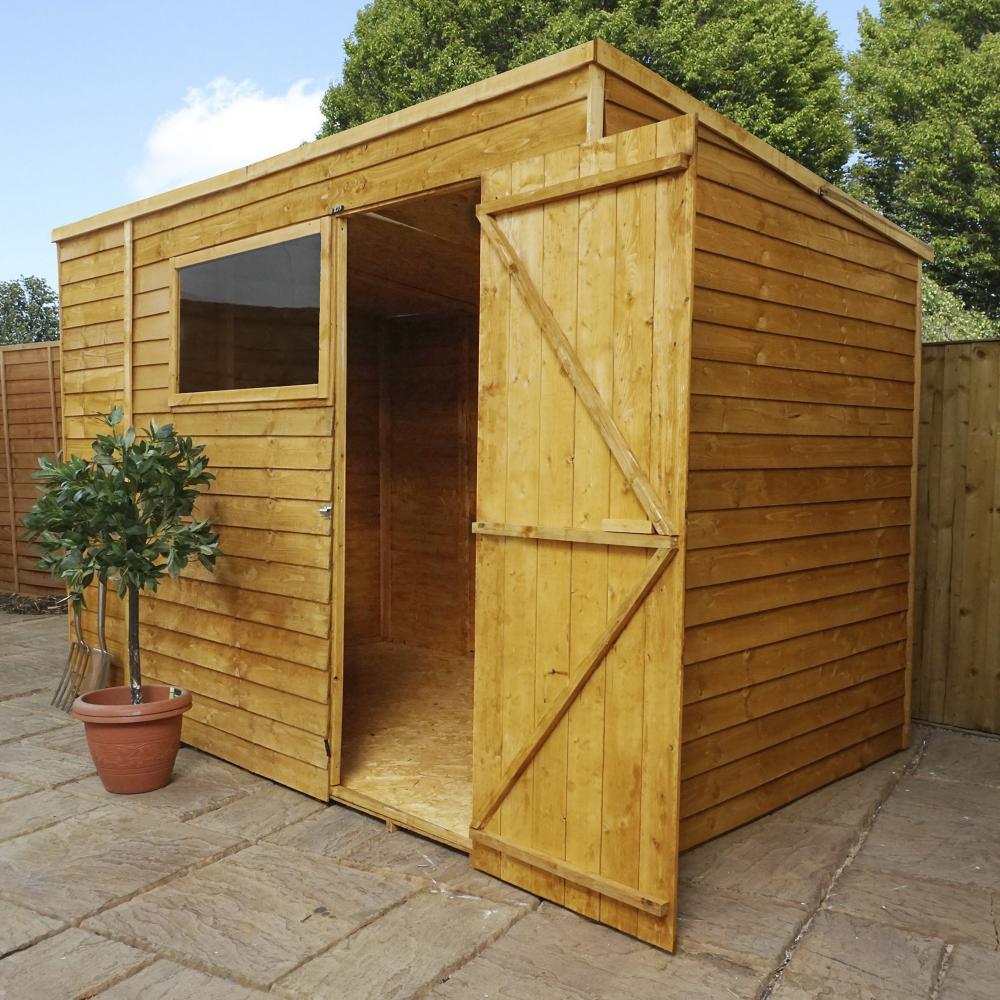 10x6 Overlap Wooden Shed Window Single Door Pent Roof Felt