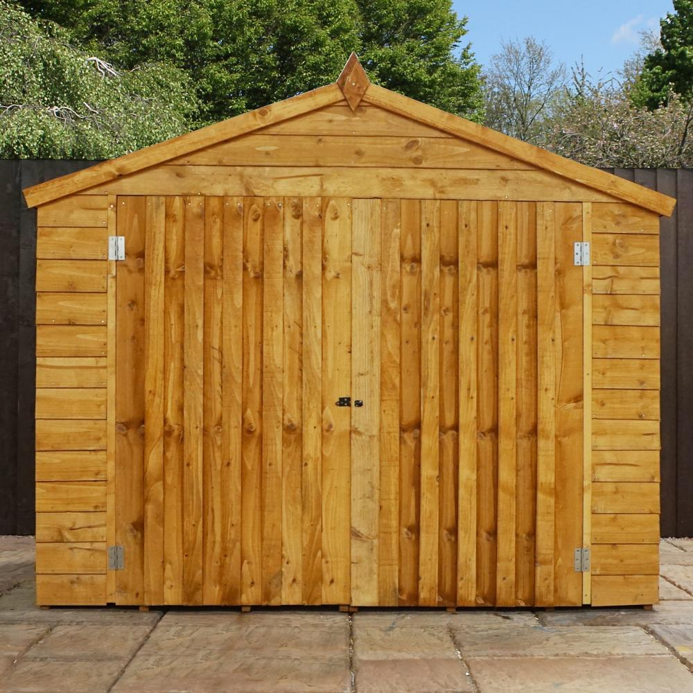 7x3 overlap wooden storage shed double doors apex roof for Garden shed 7 x 3
