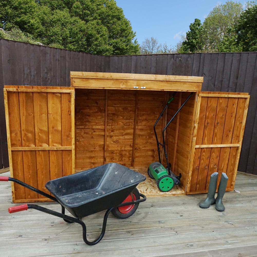 5x3 overlap wooden garden shed double doors pent roof. Black Bedroom Furniture Sets. Home Design Ideas