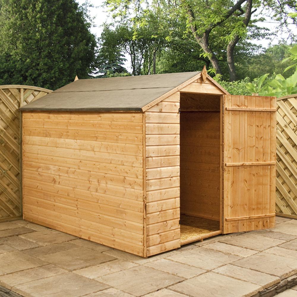 8x6 shiplap t g budget wooden garden shed single door roof. Black Bedroom Furniture Sets. Home Design Ideas