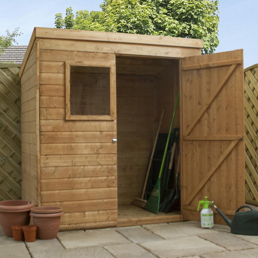 6x4 Shiplap Wooden Garden Shed Single Door Pent Roof Felt