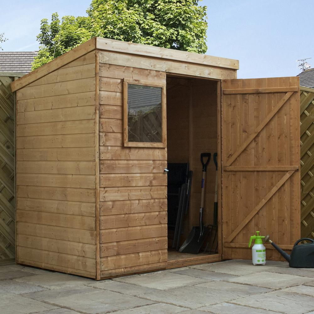 6x4 shiplap wooden garden shed single door pent roof felt for Garden shed 6x4