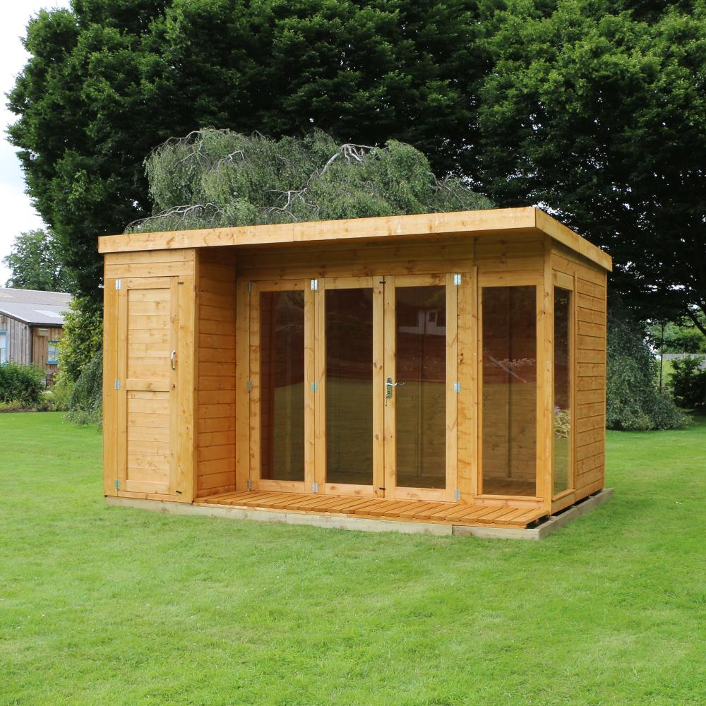 12x8 wooden contemporary shiplap t g summerhouse side shed for Side of the house storage shed