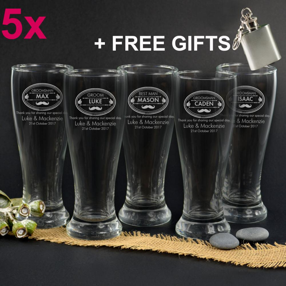 Engraved Wedding Beer Glasses : 5x Engraved 425ml Beer Schooner Glasses Wedding Favour Groomsmen Best ...