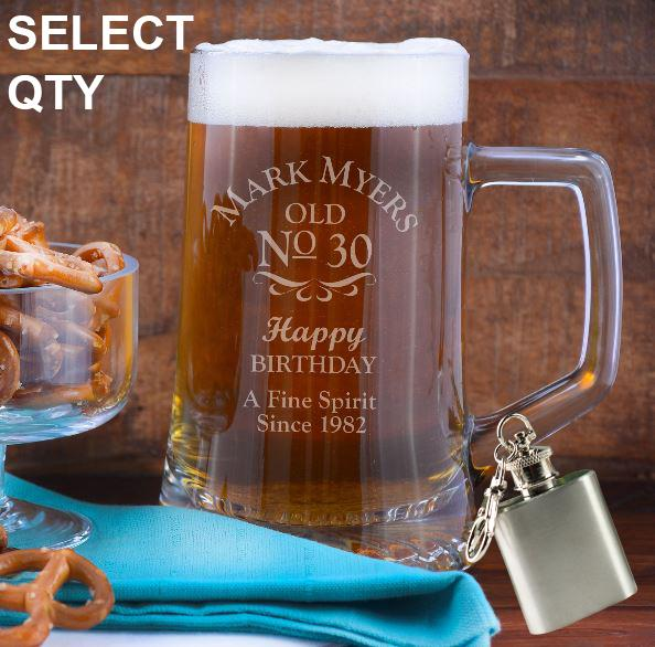 Personalised Engraved Beer Mug Tankard 500ml Glass 18th