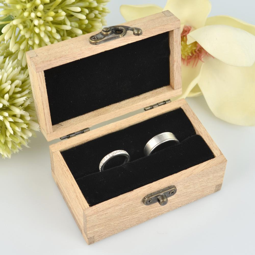 engraved wooden ring box with velvet lining wedding
