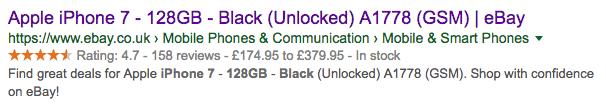 Google eBay Results