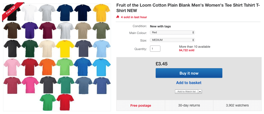 Multi-variation listing example for eBay SEO optimisation