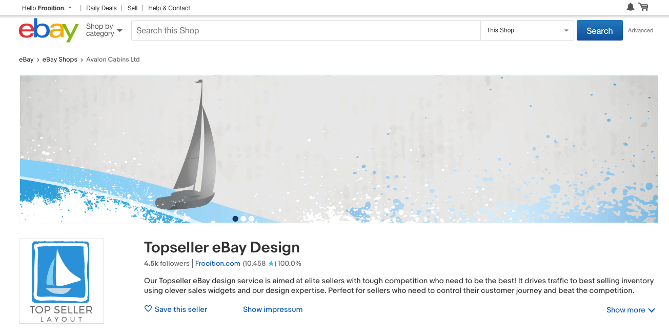 Top Seller Ebay Designs Tailored Responsive Frooition