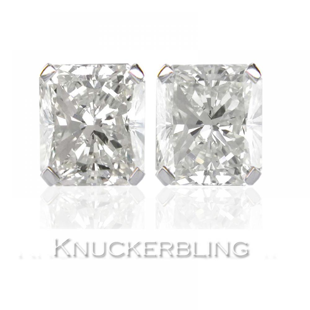 6b5fce7685905 Details about 0.50ct Radiant Certified F SI Diamond Solitaire Stud Earrings  18ct White Gold