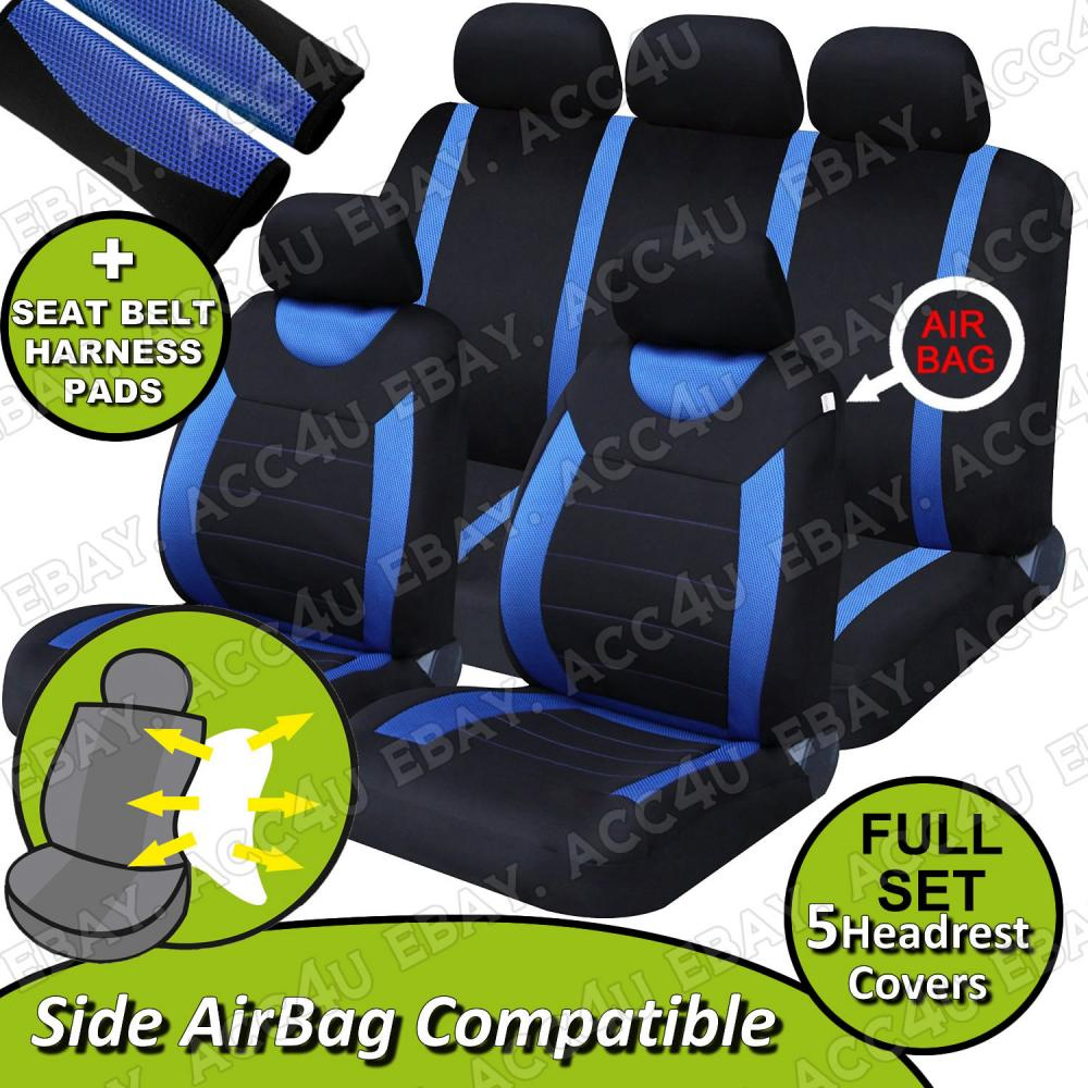 Magnificent Details About Carnaby Blue Black Mesh Car Side Airbag Ok Seat Covers Set 2 Shoulder Pads Unemploymentrelief Wooden Chair Designs For Living Room Unemploymentrelieforg