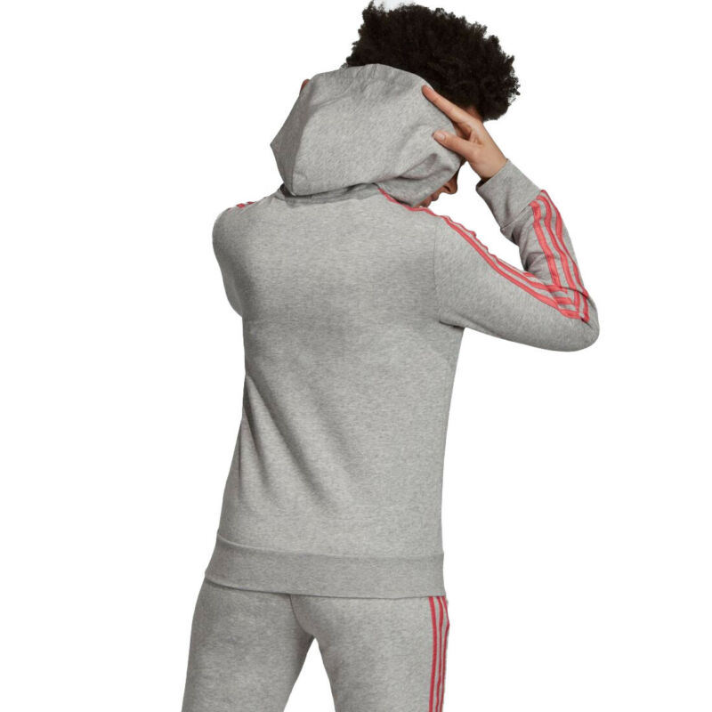 Details about adidas Essentials Ess Ladies 3 Stripes Hooded Grey Full Zip  Sports Hoodie E10774